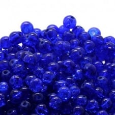 Crackle Glass Round Beads 8mm - Sapphire - 50pk