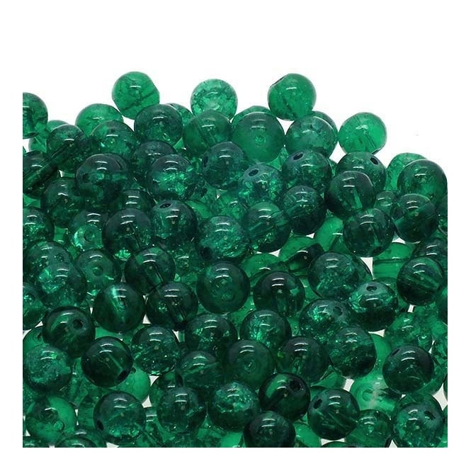 Crackle Glass Round Beads 8mm - Teal - 50pk