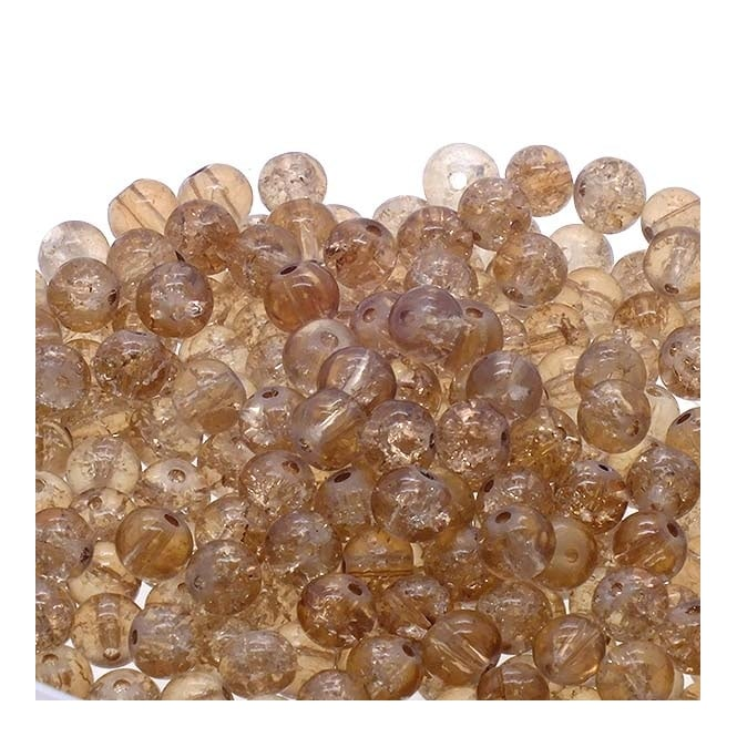 Crackle Glass Round Beads 8mm - Toffee - 50pk