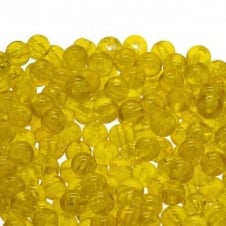 Crackle Glass Round Beads 8mm - Yellow - 50pk