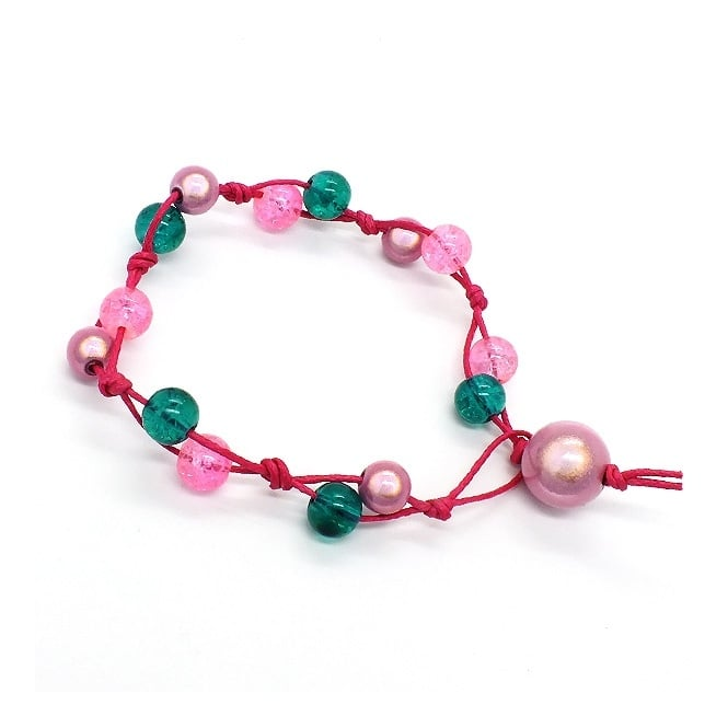 Crackle & Miracle Bead Knotted Bracelet Kit - Candy Floss
