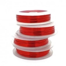 Craft/Jewellery Wire 0.4mm (26ga) Non-Tarnish - Red - 20m