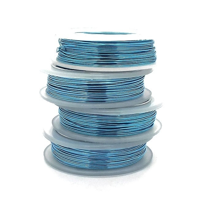 Craft/Jewellery Wire 0.6mm (22ga) Non-Tarnish - Baby Blue - 10m