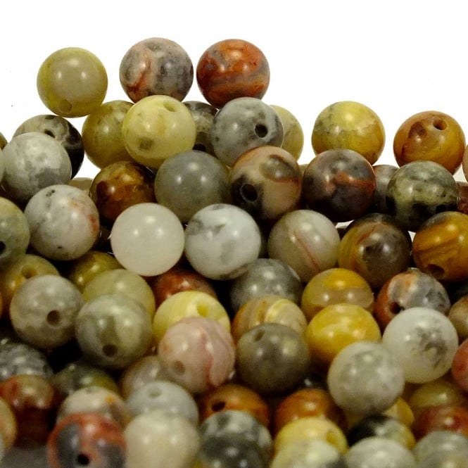 Crazy Lace Agate Round Gemstone Beads 10mm - 5pcs
