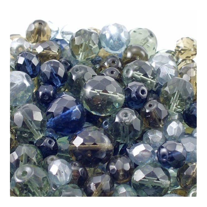 Czech Faceted Round Glass Bead Mix - Grey - 50g