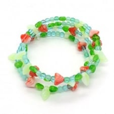 Czech Glass Beaded Memory Wire Bracelet Kit - Rose Garden