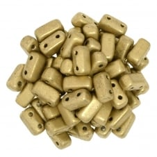 Czechmates Brick Beads 6x3mm - Matte Metallic Gold - 50 beads