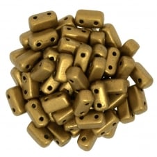 Czechmates Brick Beads 6x3mm - Matte Metallic Golden Rod - 50 beads