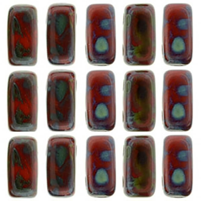 Czechmates Brick Beads 6x3mm - Opaque Red Picasso - 50 beads
