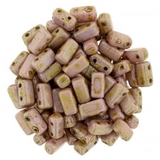 Czechmates Brick Beads 6x3mm - Opaque Rose/Gold Topaz Lustre - 50 beads