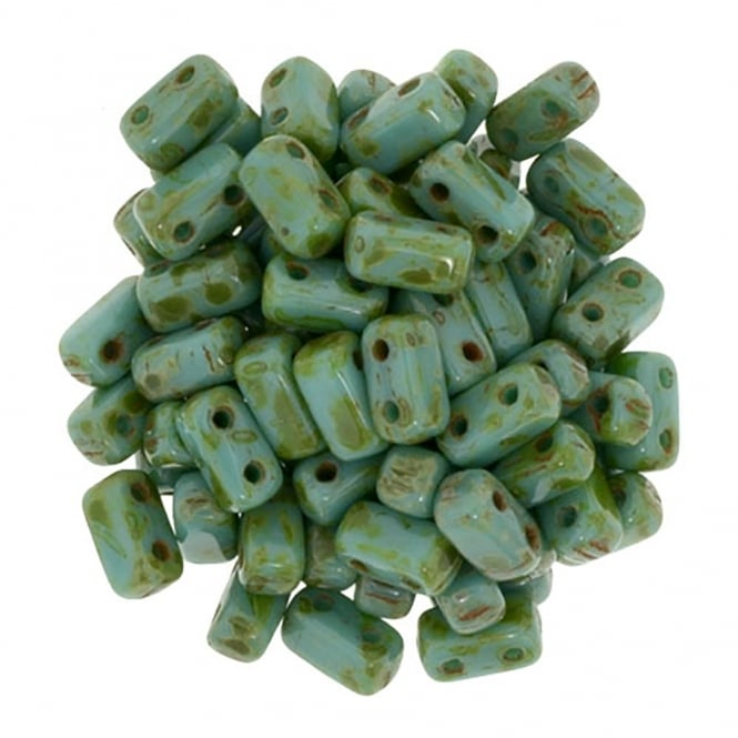 Czechmates Brick Beads 6x3mm - Persian Turquoise Picasso - 50 beads