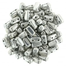 Czechmates Brick Beads 6x3mm - Silver - 50 beads