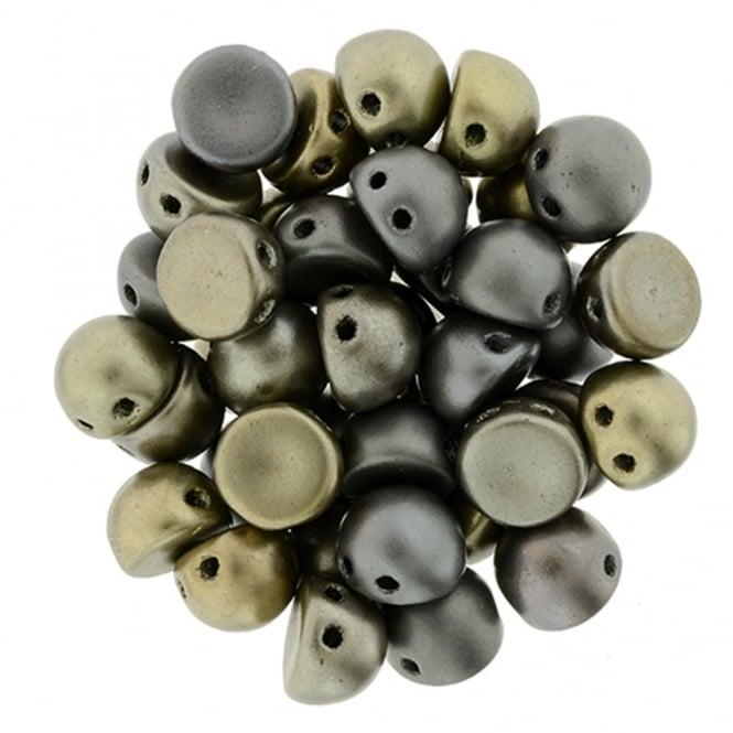 Czechmates Cabochon Beads 7mm - Grey Rainbow - 5g