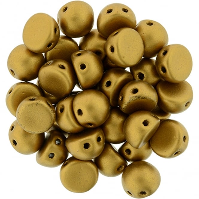 Czechmates Cabochon Beads 7mm - Matte Metallic Gold - 5g
