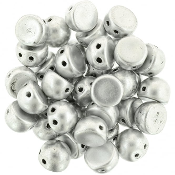 Czechmates Cabochon Beads 7mm - Matte Metallic Silver - 5g