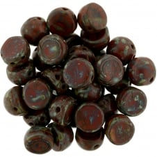 Czechmates Cabochon Beads 7mm - Opaque Red Picasso - 5g
