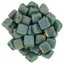 Czechmates Tile Beads 6mm - Luster Gold/Turquoise - 25 beads