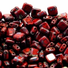 Czechmates Tile Beads 6mm - Opaque Coral Red Picasso - 25 beads