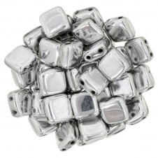 Czechmates Tile Beads 6mm - Silver - 25 beads