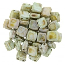 Czechmates Tile Beads 6mm - Ultra Luster Opaque Green - 25 beads