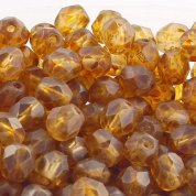 6mm Czech Glass Faceted Round Beads