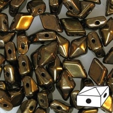 DiamonDuo Czech Glass Beads 5x8mm - Jet Bronze - 5g