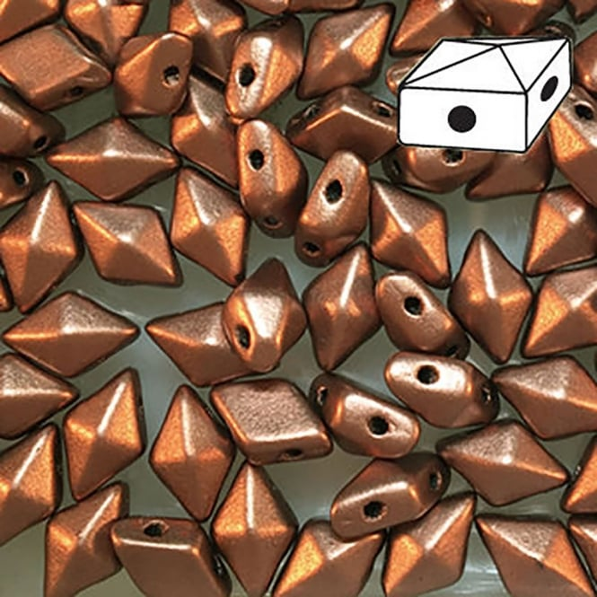 DiamonDuo Czech Glass Beads 5x8mm - Matte Metallic Bronze Copper - 5g