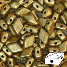 DiamonDuo Czech Glass Beads 5x8mm - Matte Metallic Gold - 5g