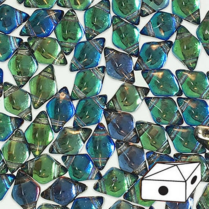 DiamonDuo Czech Glass Beads 5x8mm - Prismatic Peacock - 5g