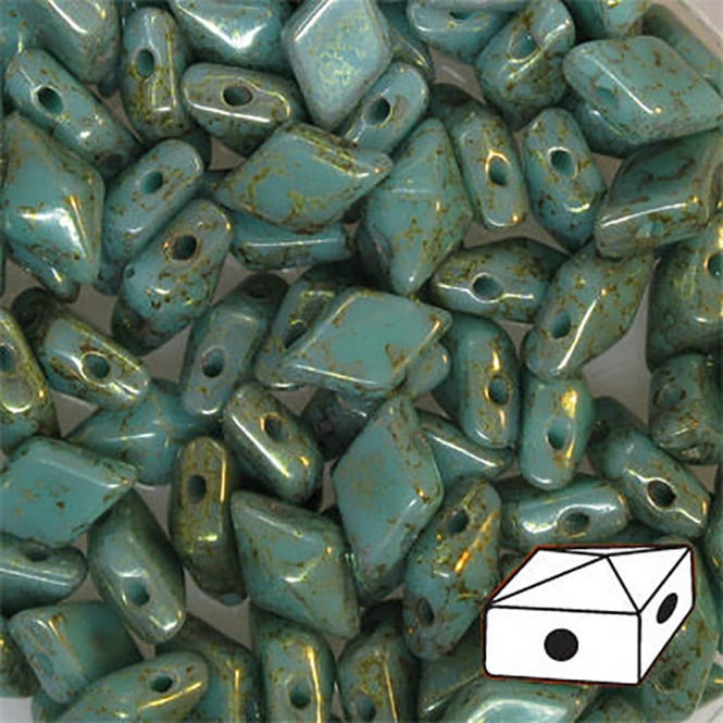 DiamonDuo Czech Glass Beads 5x8mm - Turquoise Green Terracotta Red - 5g