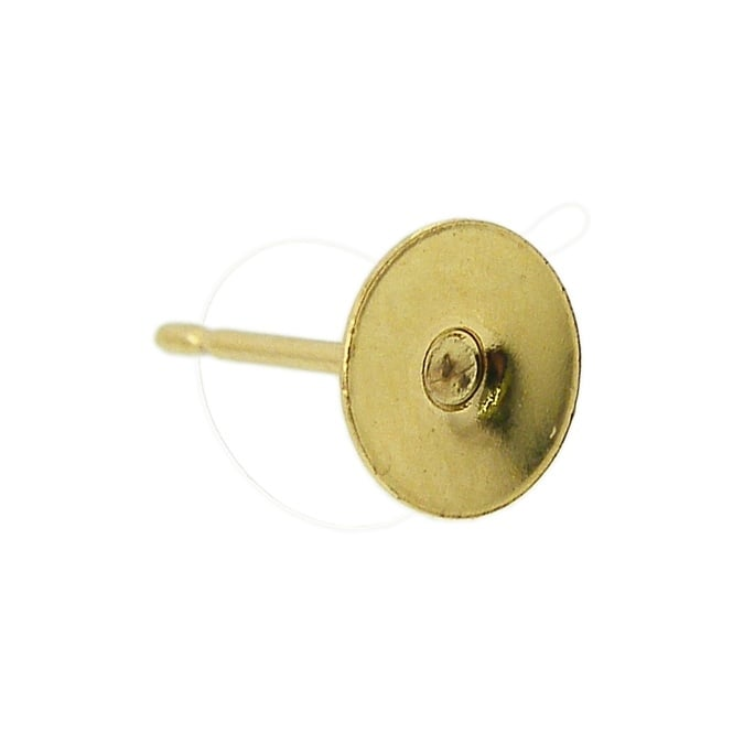Ear Stud Findings with 8mm Flat Pad - Gold Plated - 20pk