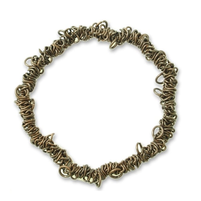 Elasticated Charm Bracelet With Jump Rings - Antique Copper Plated - 1pk