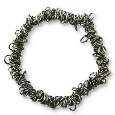 Elasticated Charm Bracelet With Jump Rings - Black Plated - 1pk