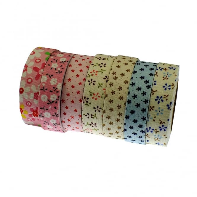 Fabric Washi Tape Mix - Floral Print - 5 Rolls