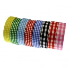 Fabric Washi Tape Mix - Gingham Print - 5 Rolls