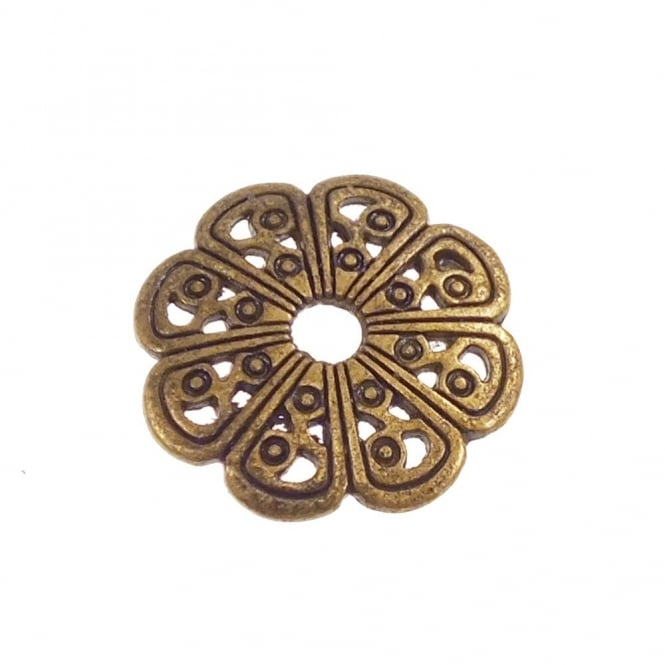 Fancy Bead Cap Findings 13mm - Antique Brass Plated - 10pk