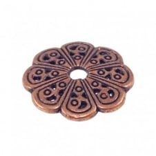Fancy Bead Cap Findings 13mm - Antique Copper Plated - 10pk