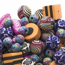 Fimo Beads Mix - Various Shapes And Sizes - 10 beads
