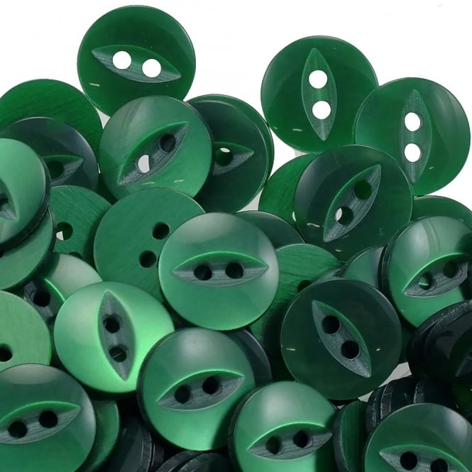 Fish Eye Buttons Size 18 (11.5mm) - Forest Green - 100pcs