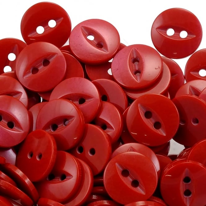 Fish Eye Buttons Size 18 (11.5mm) - Red - 100pcs