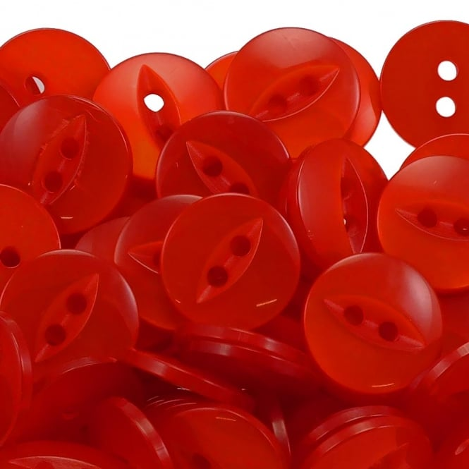Fish Eye Buttons Size 22 (14mm) - Bright Red - 100pcs