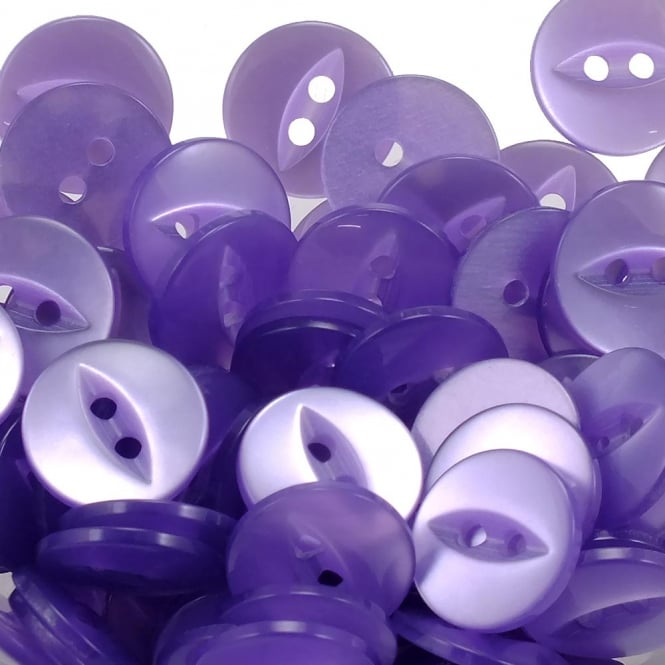 Fish Eye Buttons Size 22 (14mm) - Lilac - 100pcs