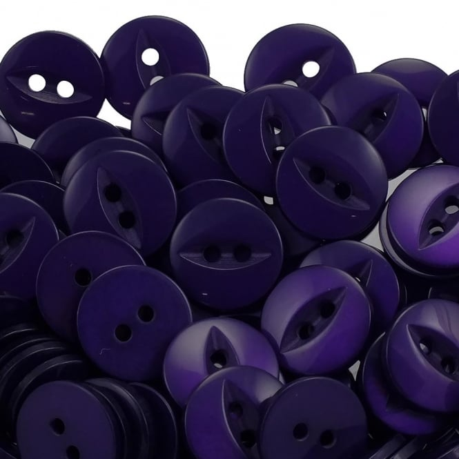 Fish Eye Buttons Size 26 (16mm) - Deep Purple - 100pcs