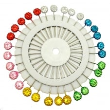 Flower Pearl Head Pin Wheel (45mm in length) - 30 pins