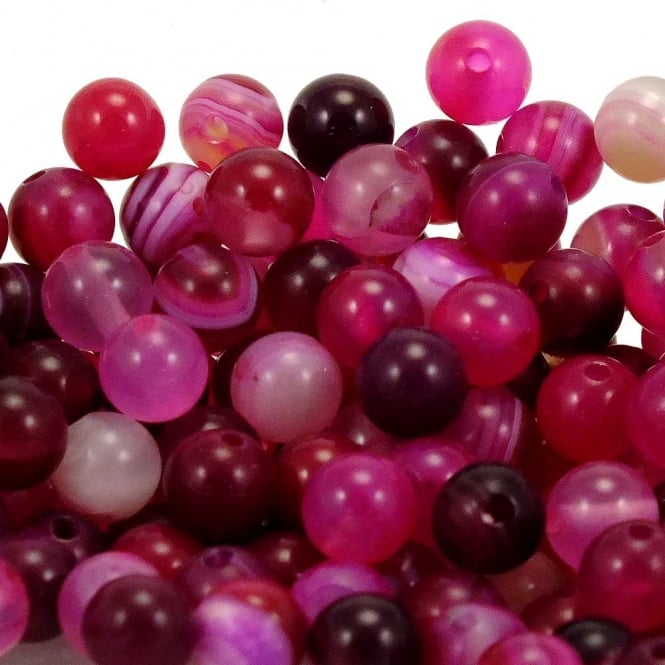 Fuchsia Striped Agate Round Gemstone Beads 4mm - 20pcs