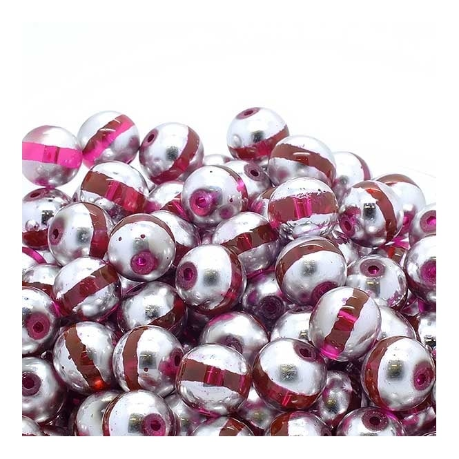 Glass Beads Stripy Round 12mm - Silver/Pink - 100g (40 Beads)