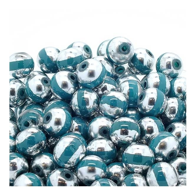 Glass Beads Stripy Round 12mm - Silver/Turquoise - 100g (40 Beads)
