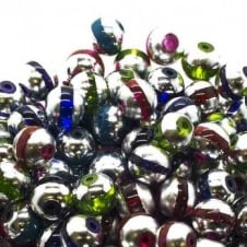 Glass Beads Stripy Round 14mm - Mix Colours - 100g (28 Beads)