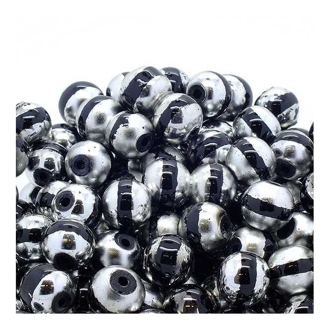 Glass Beads Stripy Round 14mm - Silver/Black - 100g (28 Beads)