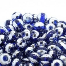 Glass Beads Stripy Round 14mm - Silver/Blue - 100g (28 Beads)